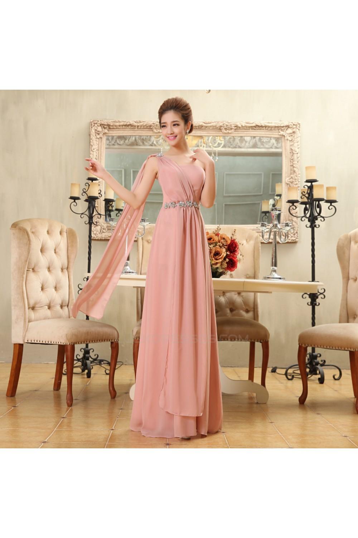 eef0870c3fa51 A-Line One-Shoulder Beaded Long Pink Chiffon Bridesmaid Dresses ...