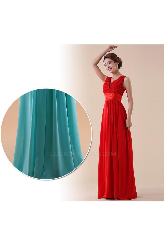 A-Line V-Neck Long Red Chiffon Bridesmaid Dresses/Evening Dresses ...