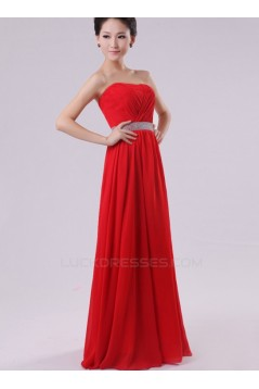 A-Line Strapless Long Red Chiffon Bridesmaid Dresses/Evening Dresses BD010601