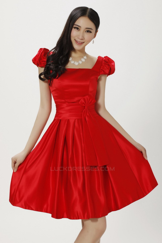 A Line Short Red Satin Bridesmaid Dresses Evening Dresses