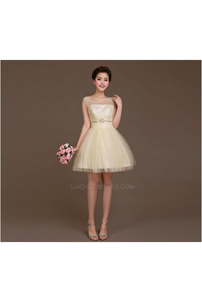 A-Line Beaded Tulle Short Bridesmaid Dresses/Evening Dresses BD010618
