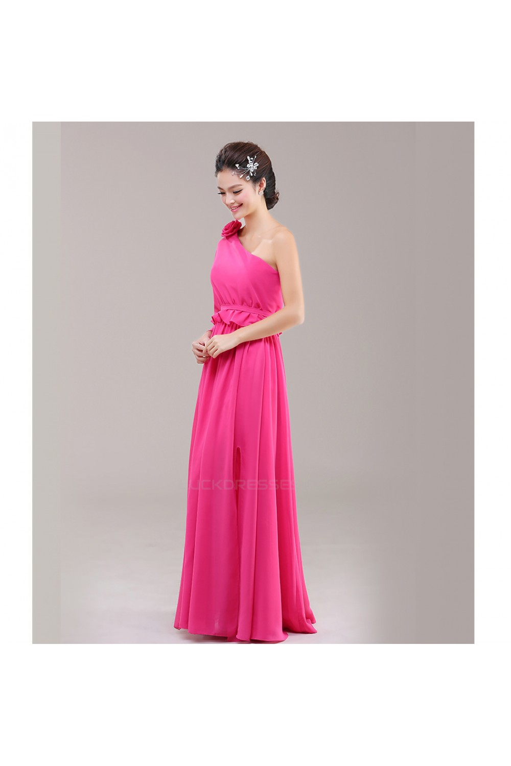 A-Line One-Shoulder Pink Chiffon Bridesmaid Dresses/Evening Dresses ...