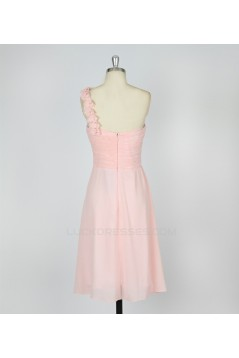 A-Line One-Shoulder Short Pink Chiffon Bridesmaid Dresses/Evening Dresses BD010640