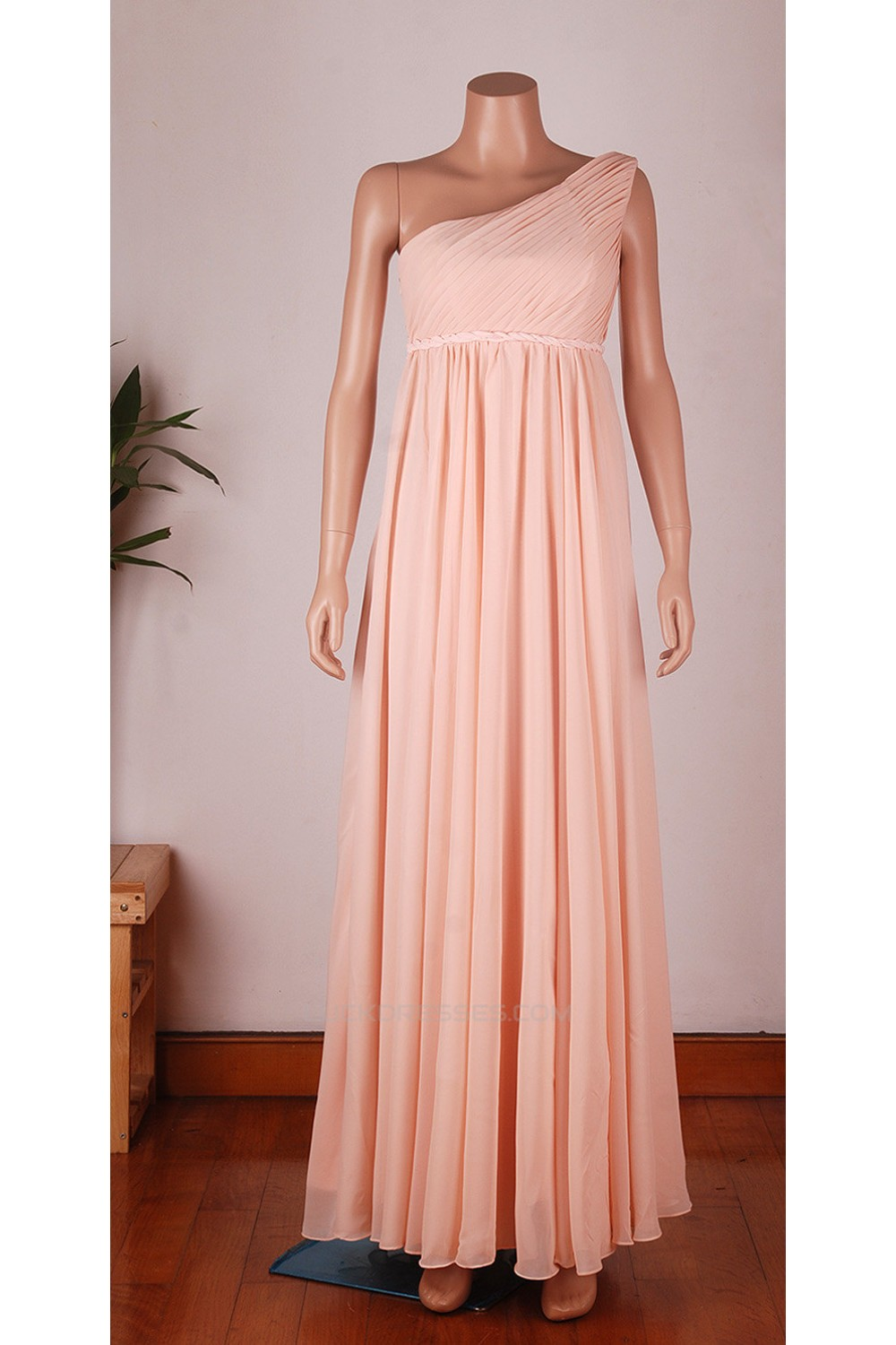 Empire One-Shoulder Long Chiffon Bridesmaid Dresses/Wedding Party ...