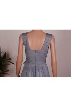 A-Line V-Neck Long Grey Chiffon Bridesmaid Dresses/Wedding Party Dresses BD010676