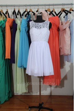 A-Line Short White Lace and Chiffon Bridesmaid Dresses/Wedding Party Dresses BD010678