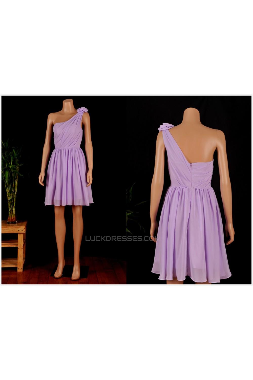 Chiffon One Shoulder Short Purple Dresses