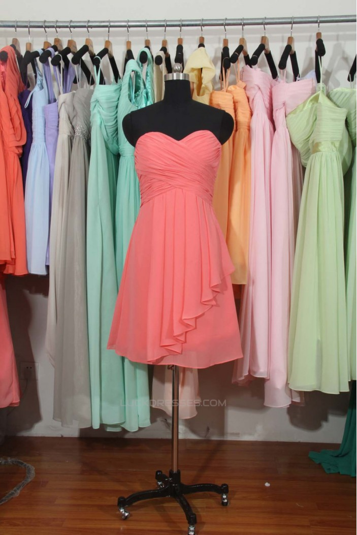 A-Line Sweetheart Short Chiffon Bridesmaid Dresses/Wedding Party Dresses BD010704