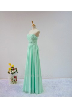 A-Line Sweetheart Long Green Chiffon Bridesmaid Dresses/Wedding Party Dresses BD010708