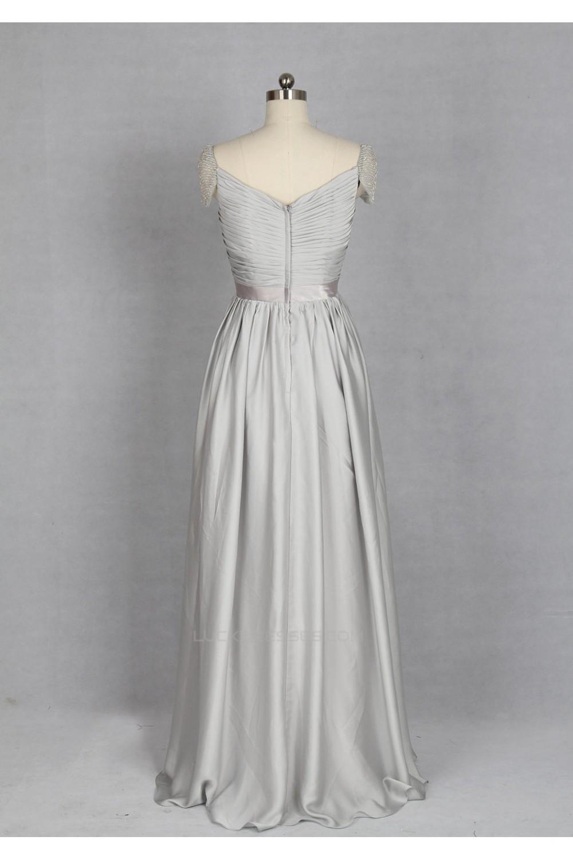 A-Line Sweetheart Cap Sleeve Long Grey Chiffon Bridesmaid Dresses ...