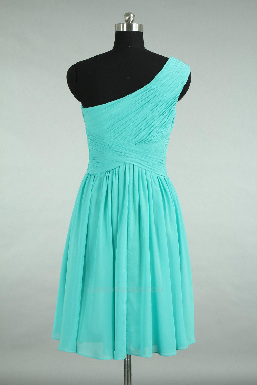 Line One-Shoulder Short Blue Chiffon Bridesmaid Dresses/Wedding ...