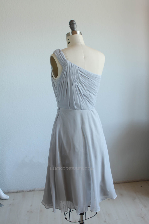 A-Line One-Shoulder Short Chiffon Bridesmaid Dresses/Wedding Party ...