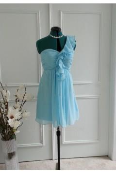 A-Line One-Shoulder Short Blue Chiffon Bridesmaid Dresses/Wedding Party Dresses BD010765