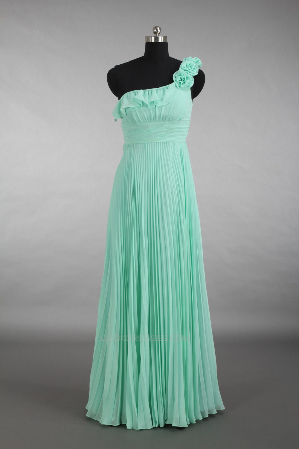 Empire One-Shoulder Pleated Long Green Chiffon Bridesmaid Dresses ...