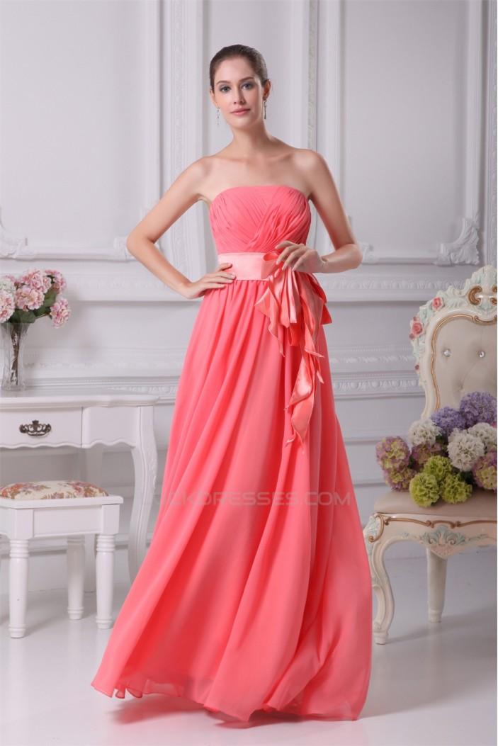 A-Line Strapless Floor-Length Handmade Flowers Chiffon Best Bridesmaid Dresses 02010001