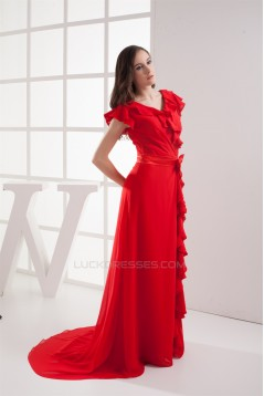 Brush Sweep Train V-Neck Chiffon Silk like Satin Long Red Bridesmaid Dresses with Sleeves 02010010