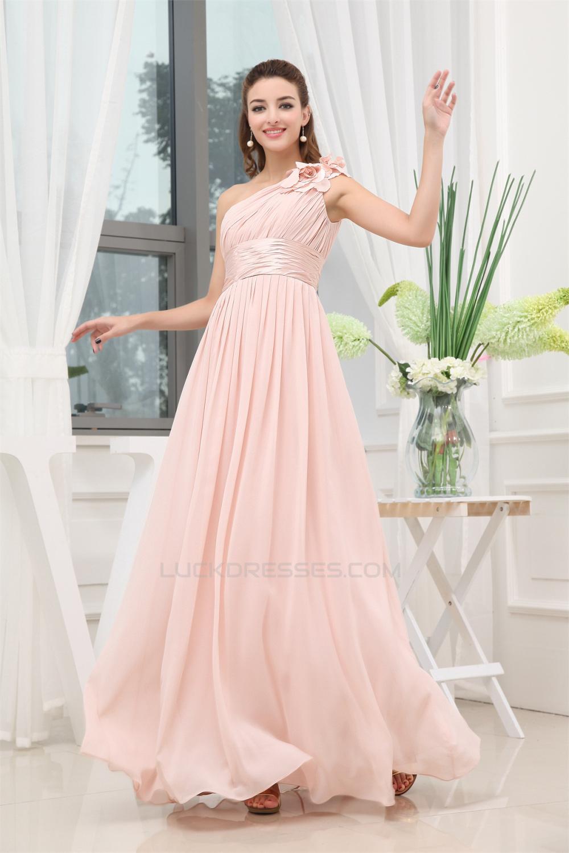 A-Line One-Shoulder Floor-Length Long Pink Chiffon Bridesmaid ...