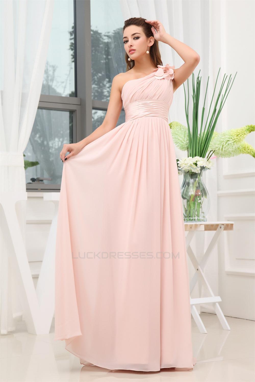 Line one shoulder floor length long pink chiffon bridesmaid a line one shoulder floor length long pink chiffon bridesmaid dresses 02010016 ombrellifo Images