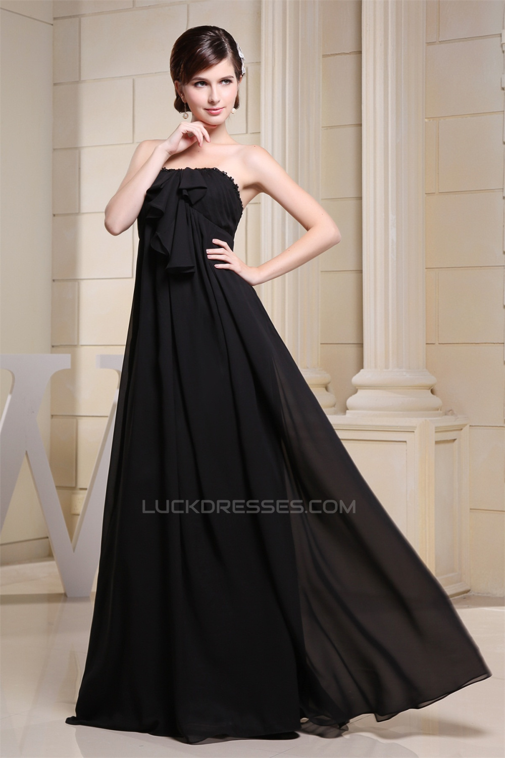 Strapless long black chiffon maternity bridesmaid evening dresses empire strapless long black chiffon maternity bridesmaid evening dresses 02010034 ombrellifo Gallery