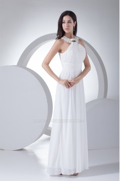 Halter Sheath/Column Sleeveless Floor-Length Best Long White Bridesmaid Dresses 02010058