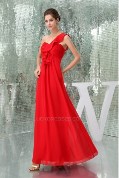 One-Shoulder A-Line Chiffon Sleeveless Draped Best Long Red Bridesmaid Dresses 02010064