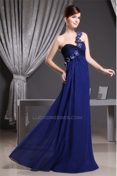 Empire One-Shoulder Beading Long Chiffon Bridesmaid Maternity Dresses 02010068