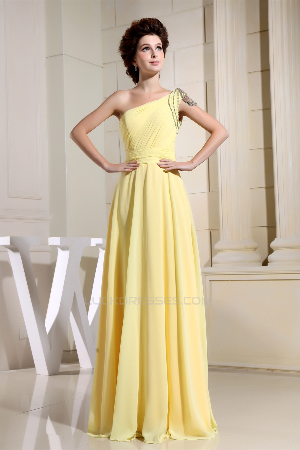 Line one shoulder ruffles floor length chiffon long yellow a line one shoulder ruffles floor length chiffon long yellow bridesmaid dresses 02010072 ombrellifo Images