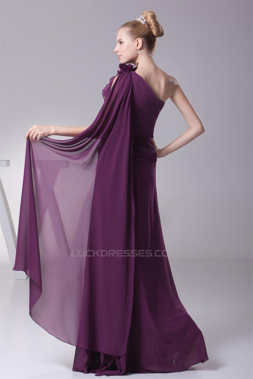 A-Line Ruffles One-Shoulder Chiffon Long Bridesmaid Dresses 02010078