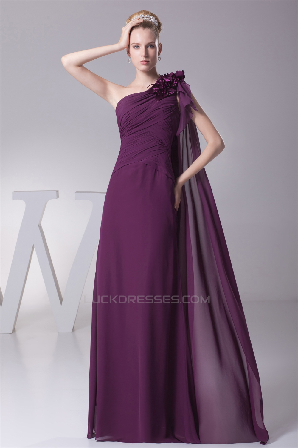 Line Ruffles One-Shoulder Chiffon Long Bridesmaid Dresses 02010078