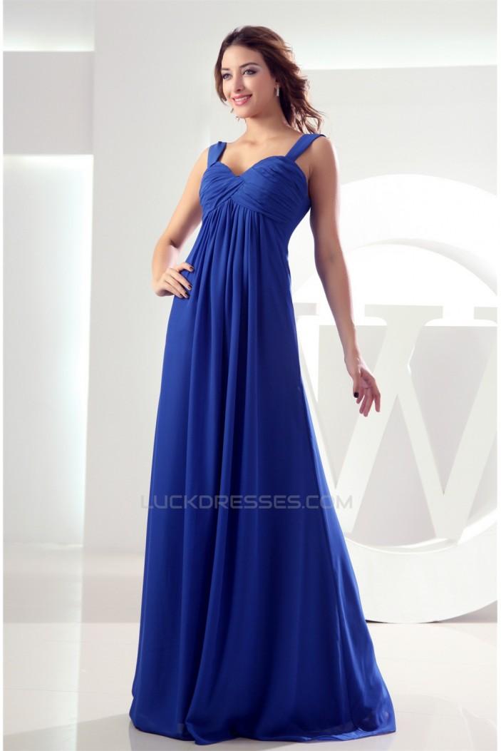 Empire Ruffles Chiffon Sleeveless Long Blue Bridesmaid Dresses Maternity Dresses 02010079