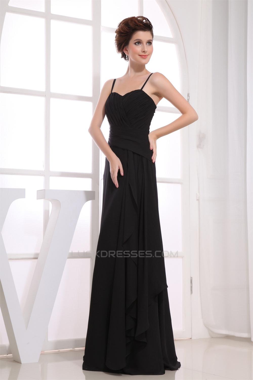 3b2ff747ca82 A-Line Sweetheart Spaghetti Strap Floor-Length Long Black Chiffon  Bridesmaid Dresses 02010083