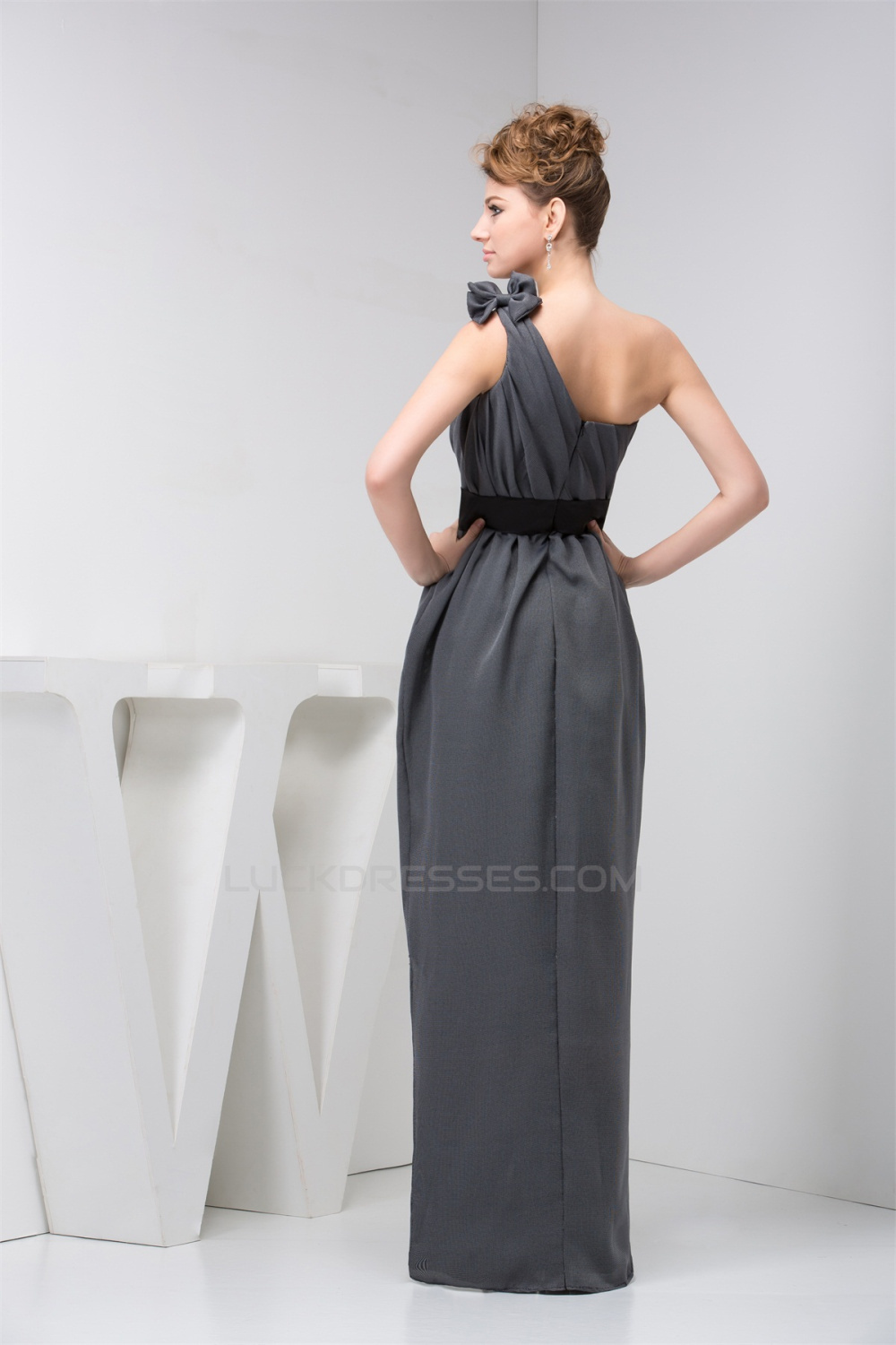 Sheath Column One Shoulder Long Chiffon Bridesmaid Dresses Under 100 02010093