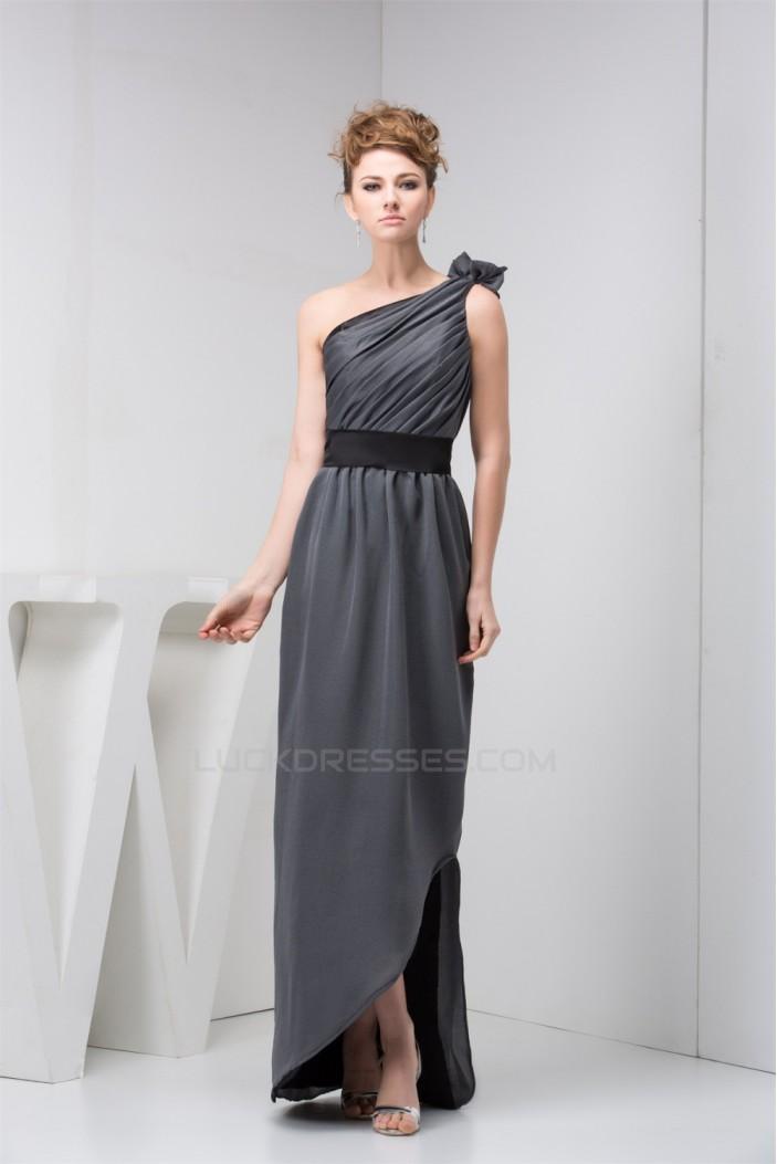 Sheathcolumn One Shoulder Long Chiffon Bridesmaid Dresses Under 100