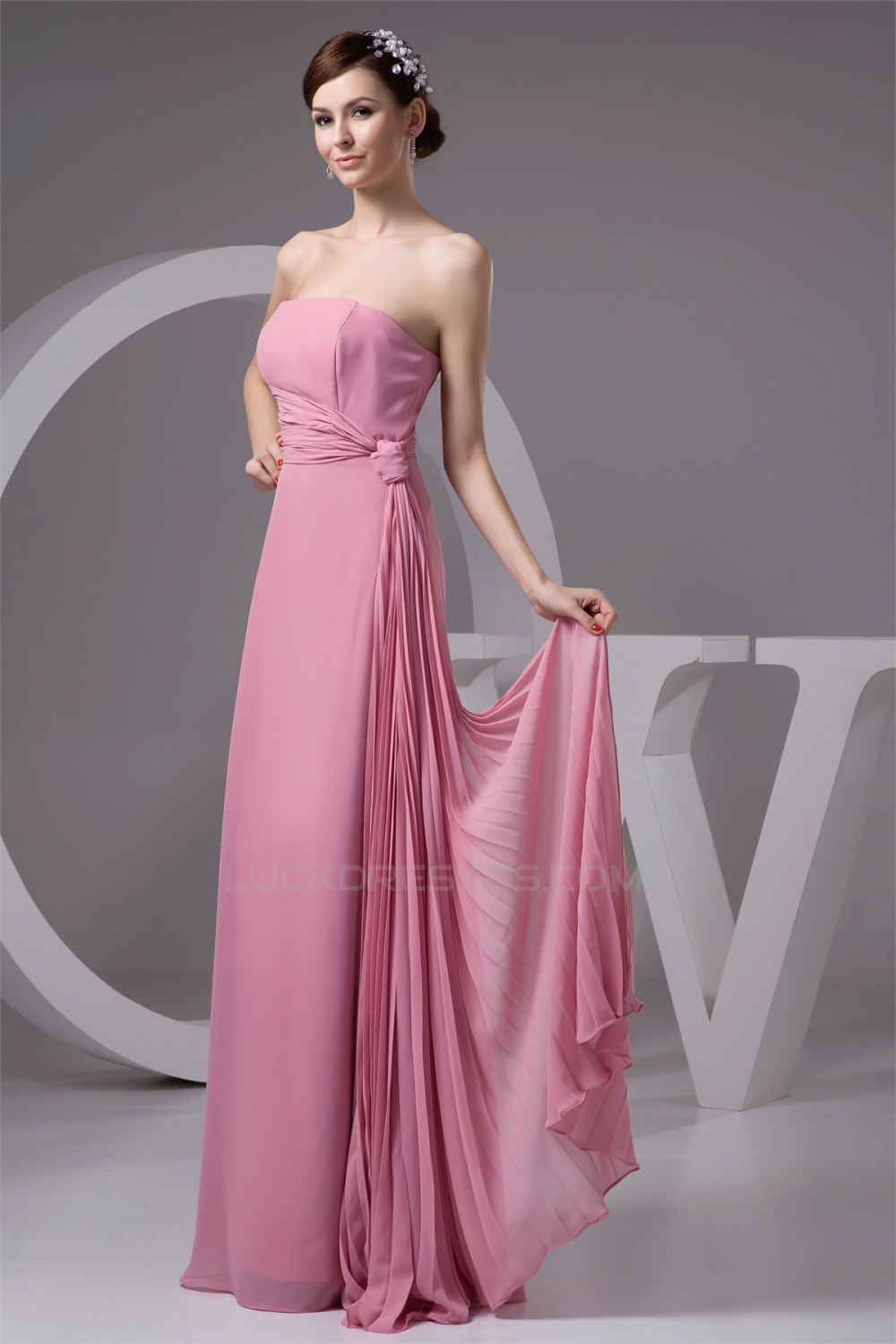 Most Popular Ruffles Strapless Chiffon Long Bridesmaid