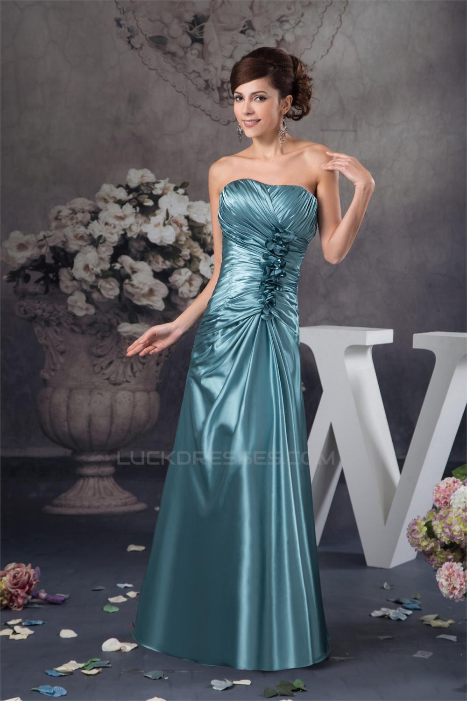 A-Line Floor-Length Silk like Satin Soft Strapless Long Bridesmaid ...