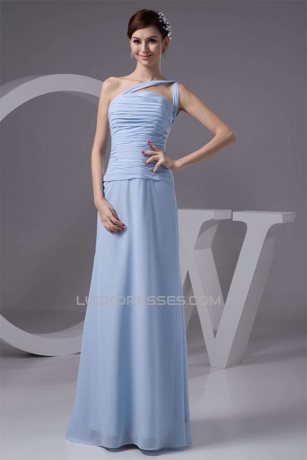 One shoulder chiffon long bridesmaid dresses 02010113 sleeveless one shoulder chiffon long bridesmaid dresses 02010113 ombrellifo Gallery