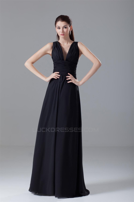 Chiffon Black Wedding Dresses