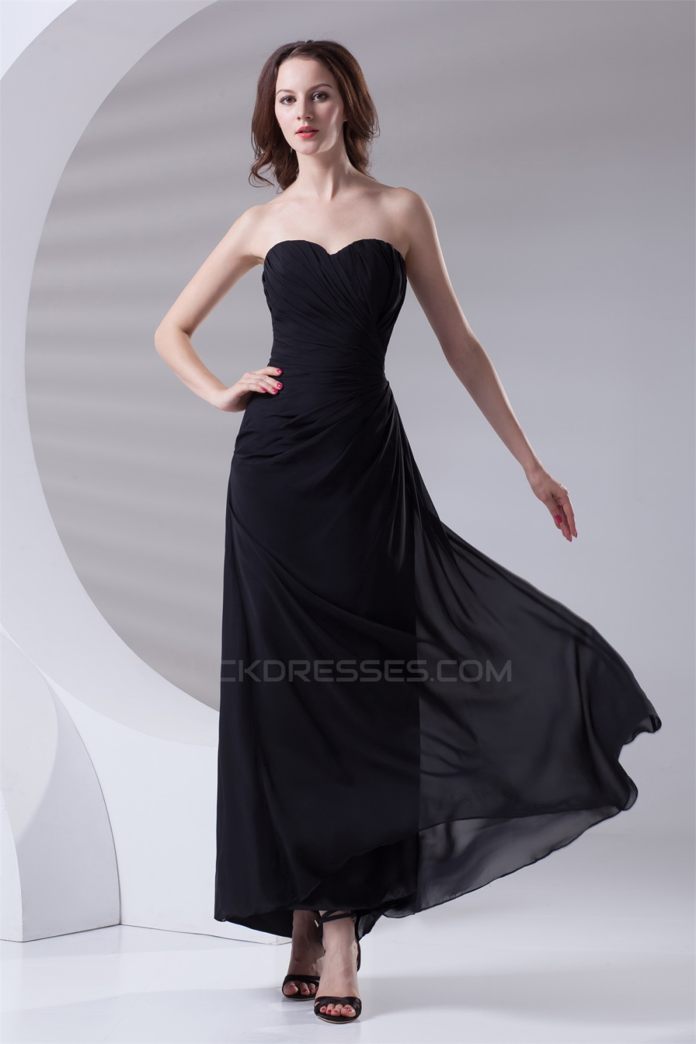 Ankle Length Sleeveless Chiffon Sweetheart Long Black