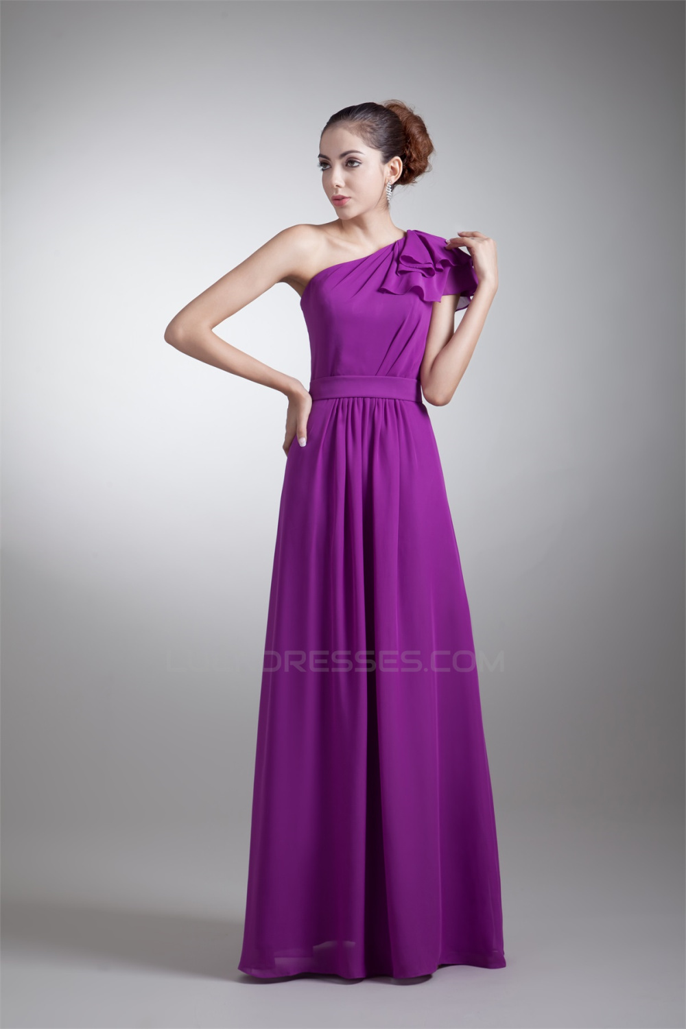 A-Line One-Shoulder Ruffles Floor-Length Purple Bridesmaid Dresses ...