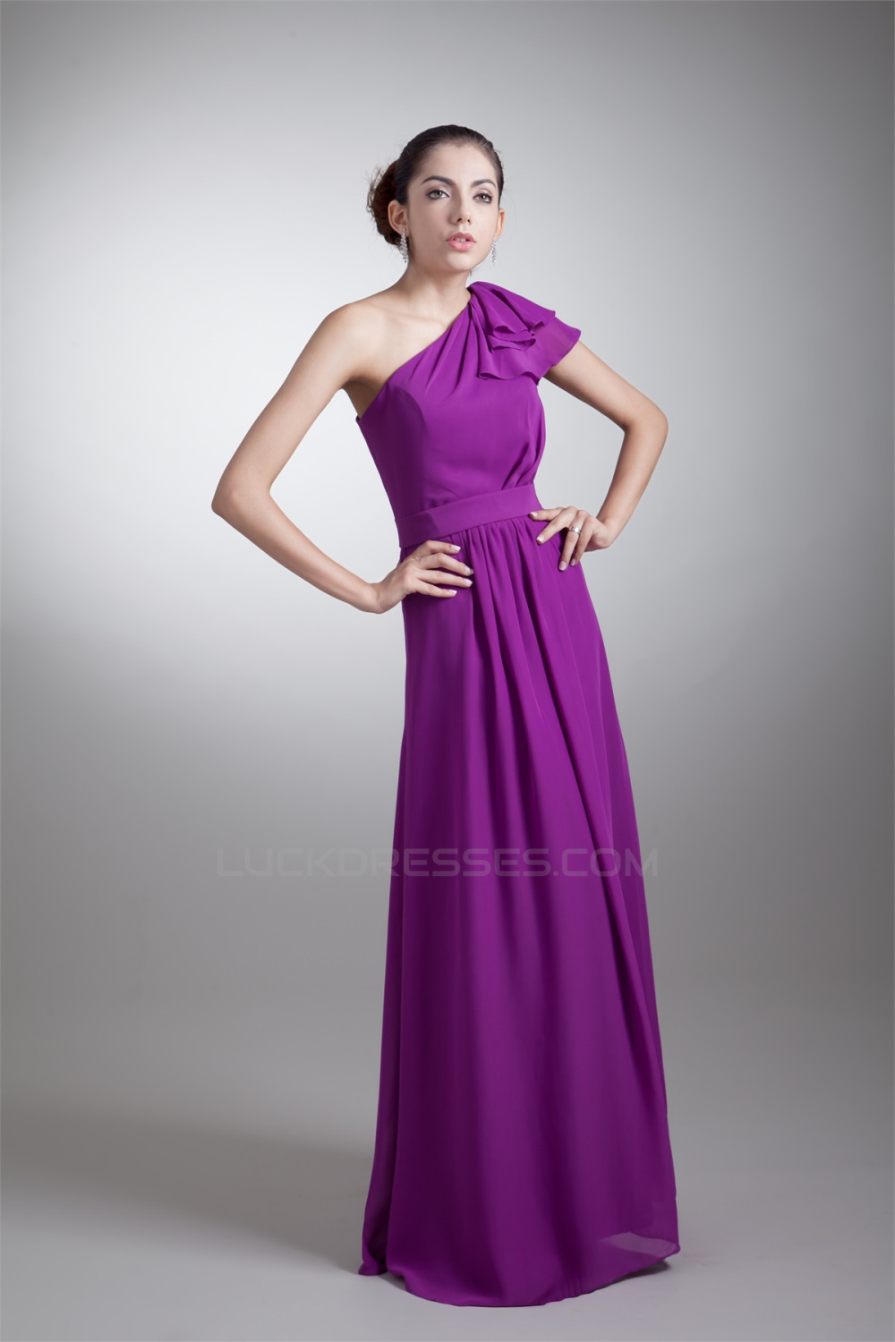aline oneshoulder ruffles floorlength purple bridesmaid