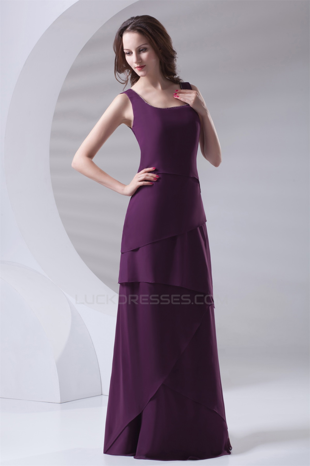 Floor Length Chiffon Long Purple Bridesmaid Dresses 02010154