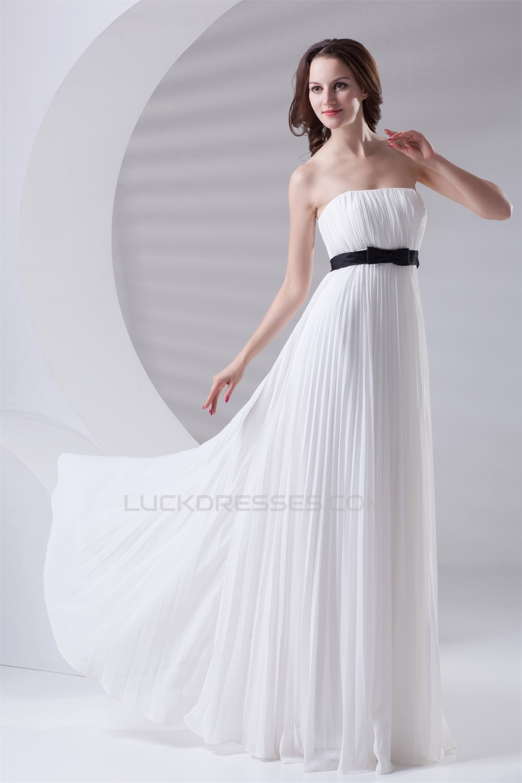 Empire Strapless Long White Chiffon Bridesmaid Dresses