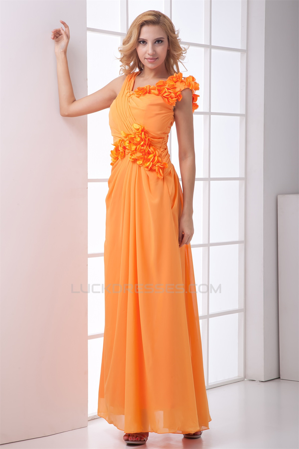 Flowers ankle length a line chiffon long bridesmaid dresses 02010167 handmade flowers ankle length a line chiffon long bridesmaid dresses 02010167 ombrellifo Image collections