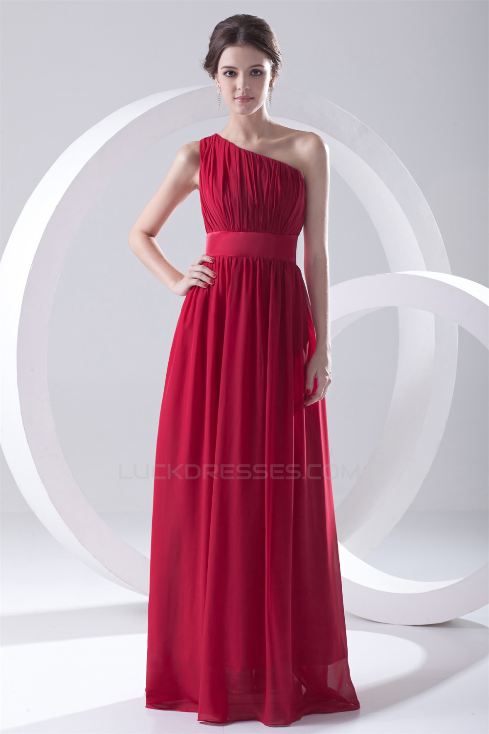 One shoulder chiffon red long bridesmaid dresses under 100 for Long wedding dresses under 100