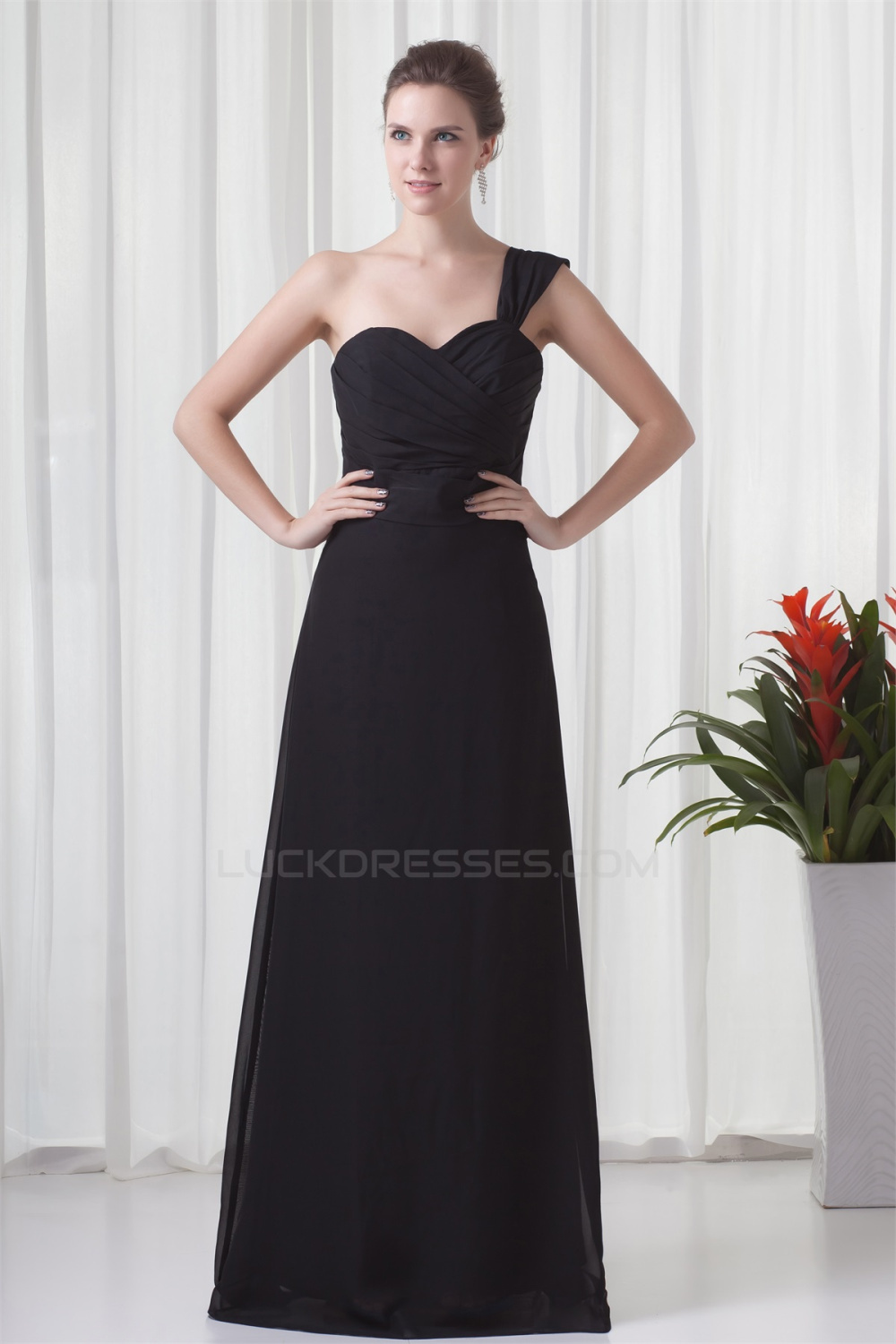 Shoulder sleeveless criss cross floor length long black chiffon one shoulder sleeveless criss cross floor length long black chiffon bridesmaid dresses 02010175 ombrellifo Images