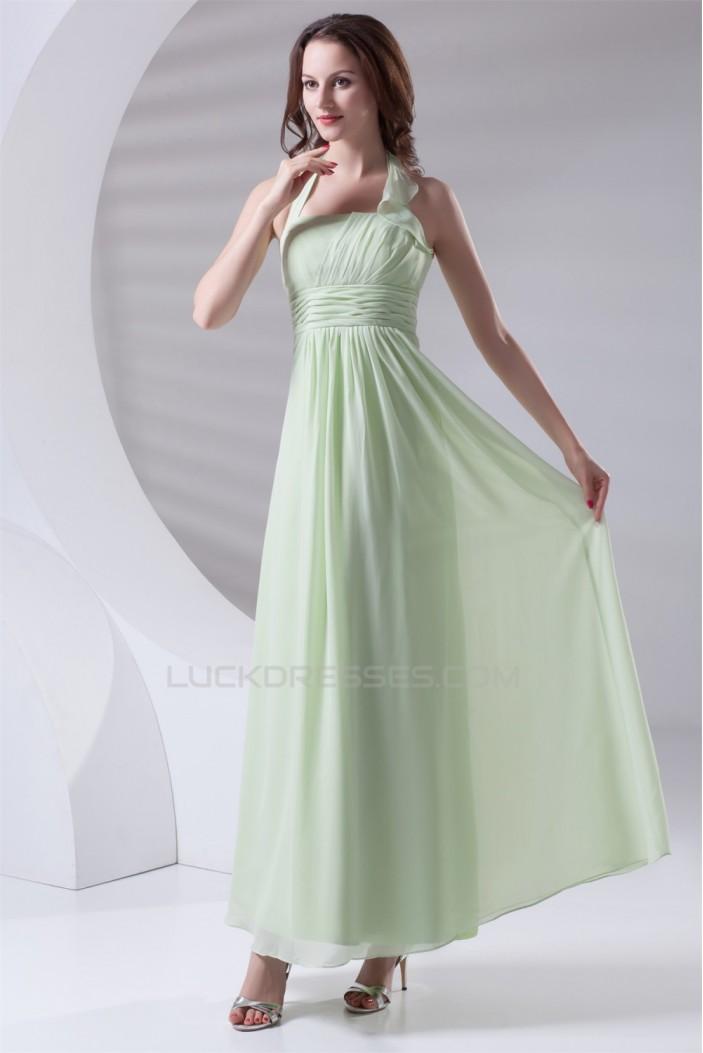Pleats A Line Sleeveless Chiffon Long Bridesmaid Dresses