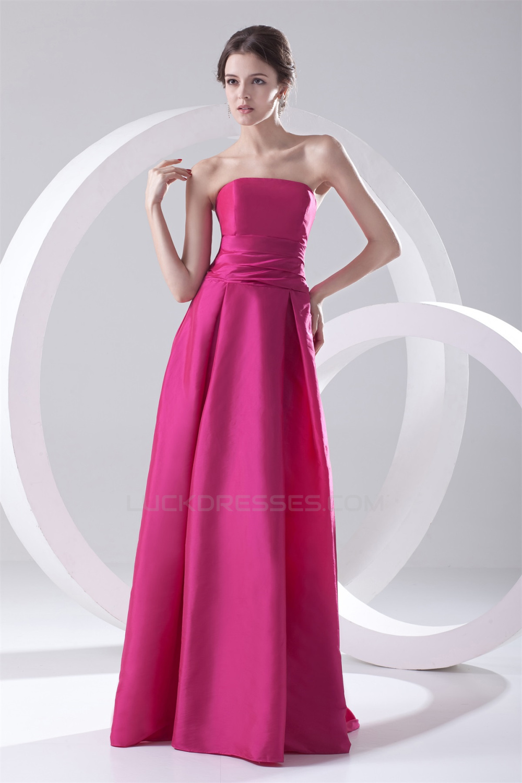 Simple Style Pleats Floor-Length A-Line Sleeveless Taffeta Long ...