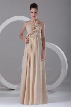 Sheath/Column Sleeveless Chiffon Handmade Flowers Bridesmaid Dresses 02010186