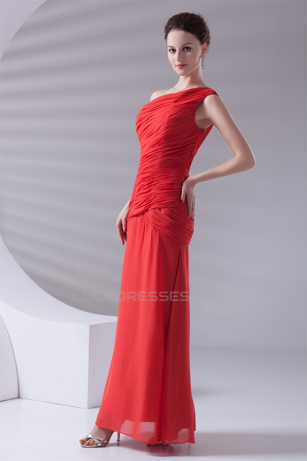 Ankle Length SheathColumn One Shoulder Long Red