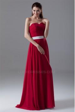 A-Line Sleeveless Floor-Length Chiffon Best Long Red Bridesmaid Dresses 02010189